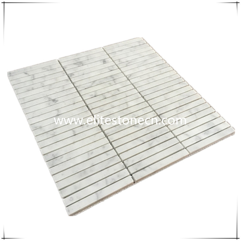 ES-C01 Carrara White Rectangular Stacked Mosaic Tile Polished - Marble from Italy
