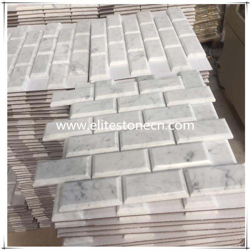 Es C07 White Carrara Marble Deep Beveled Subway Brick Mosaic Tile Polished 2x4 From Italy