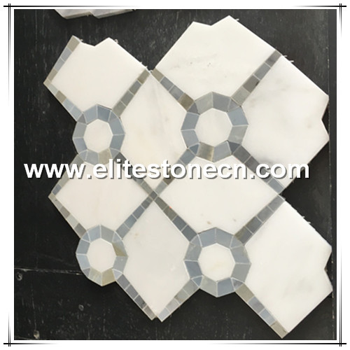 ES-W178  waterjet cutting white bianco carrara marble mosaic tile