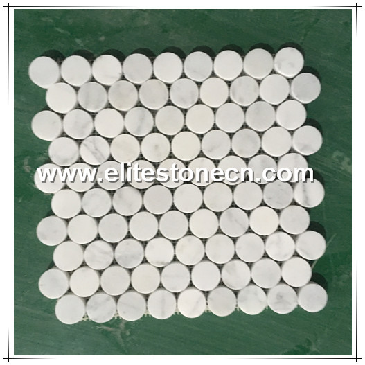 ES-C28 Penny round Bianco Carrara White marble stone mosaic for wall