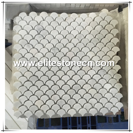 ES-C27 Italian marble Bianco Carrara fan shape fish scale water jet mosaic tile
