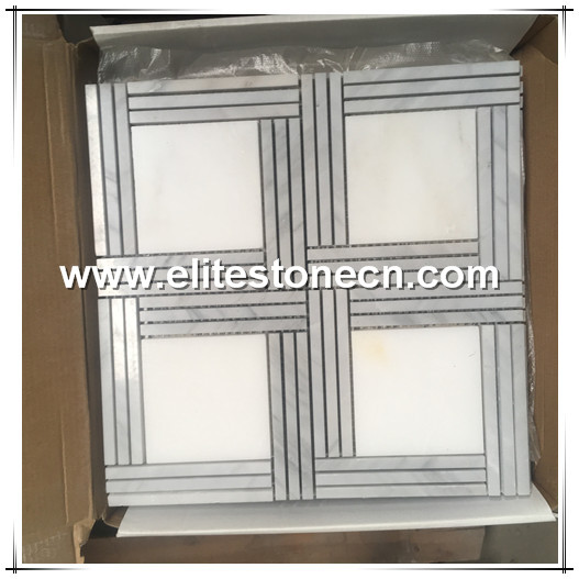 ES-W229 New Design Natural Stone Square Marble Waterjet Mosaic Tile for Bathroom Floor