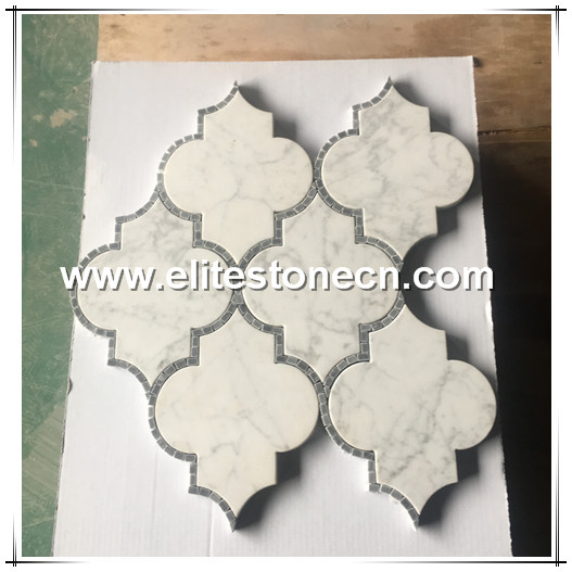 ES-W188  Arabesque Water Jet Marble Stone Mosaic Italy White The Lantern Shaped Design Marble Mosaic
