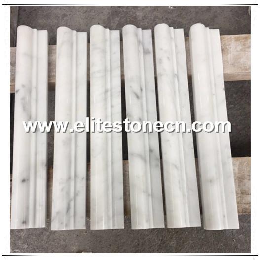 ES-B07 White Carrara 2x12 Marble Chair Rail Trim Ogee