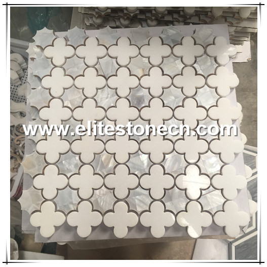 ES-W35 Thassos White Marble Shell Mosaic Tile Flower Design Waterjet