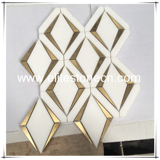 ES-W51 Thassos White Marble and Brass Mix Diamond Waterjet Tile Backsplash Mosaic