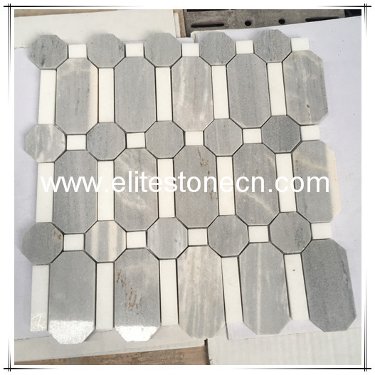 ES-W52 Natural Stone Latin Grey Mixed Himalaya White Waterjet Marble Mosaic for Bathroom