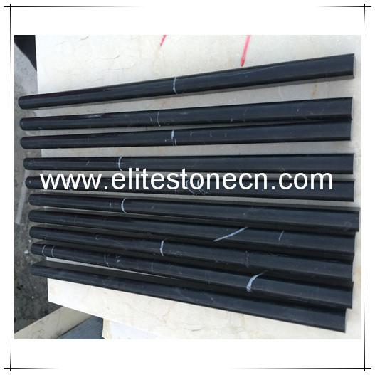 ES-B10 China Nero Marquina Black Marble Pencil Liner Trim Molding