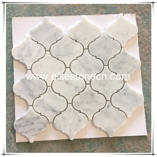ES-C44 Carrara White Grand Lantern Shaped Arabesque Baroque Mosaic Tile Polished - Marble from Italy