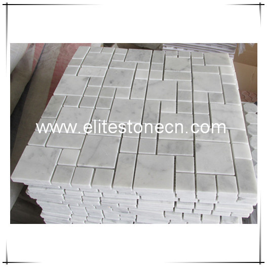 ES-C46 Carrara White Mini Versailles Pattern Mosaic Tile Polished for wall and floor tile decoration