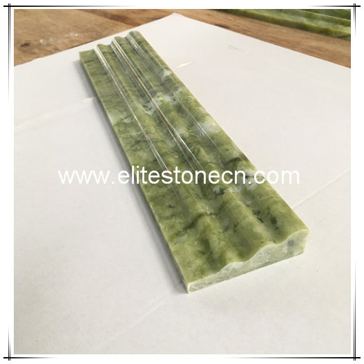 ES-B35 Green Marble Chair Rail Decorative Crown Molding Trim Double Ogee
