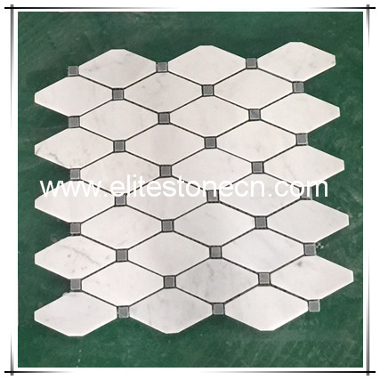 ES-C74 Carrara Bianco Long Octagon Bardglio Dot Marble Mosaic and Tile