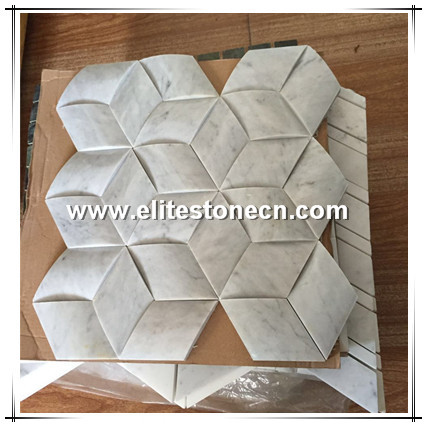 ES-C75 polished cube 3d Italian carrara hexagon white marble mosaics and tiles for kitchen