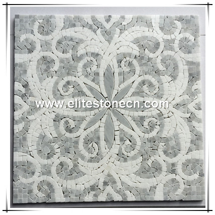 ES-C76 Italy Bianco Carrara White Marble Polished Flower Design Mosaic Pattern Tile