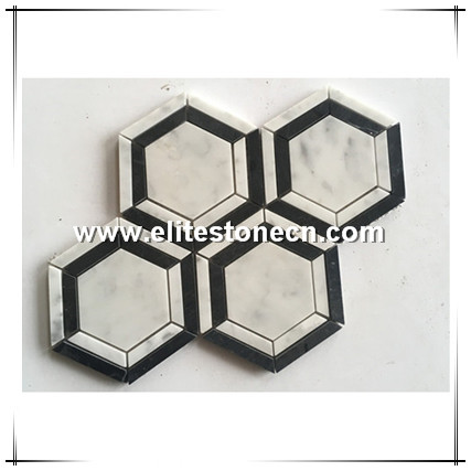 ES-C78 Carrara white Marble hexagon mosaic marble mosaic tile for bathroom tiles