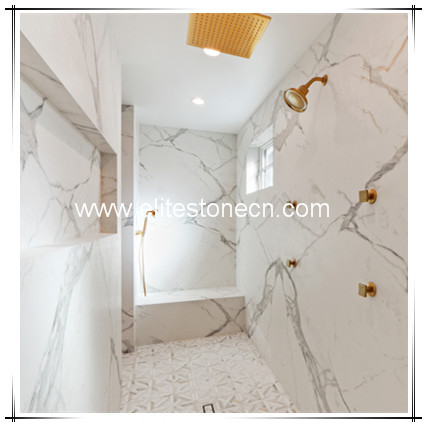 ES-M23 Polished calacatta gold and white marble for floor tiles and wall tiles